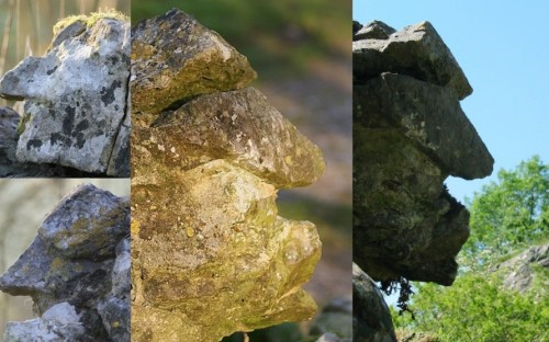 faces in stone collage
