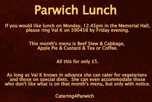 parwich lunch jan13 Reminder
