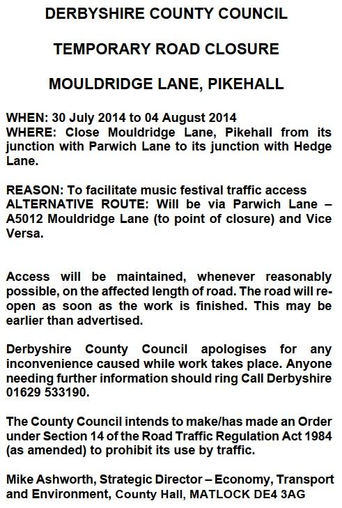 Jul14 Temp rd closure pikehall
