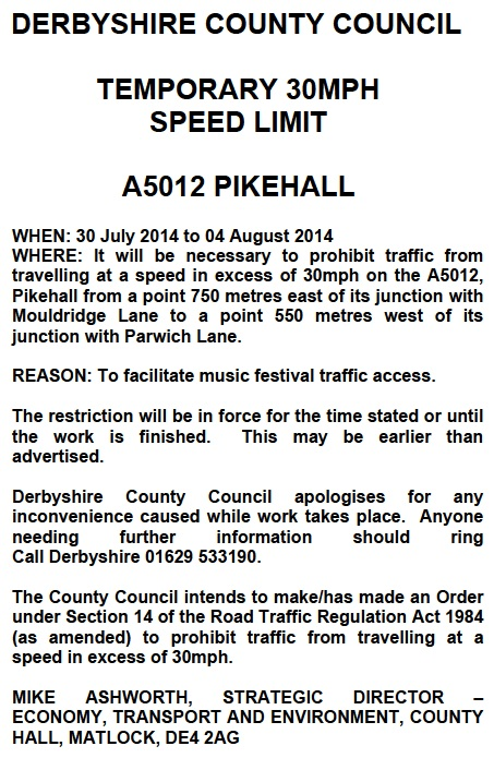 Jul14 Temp spd limit pikehall