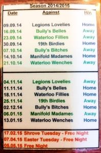 Ladies Darts Fixtures