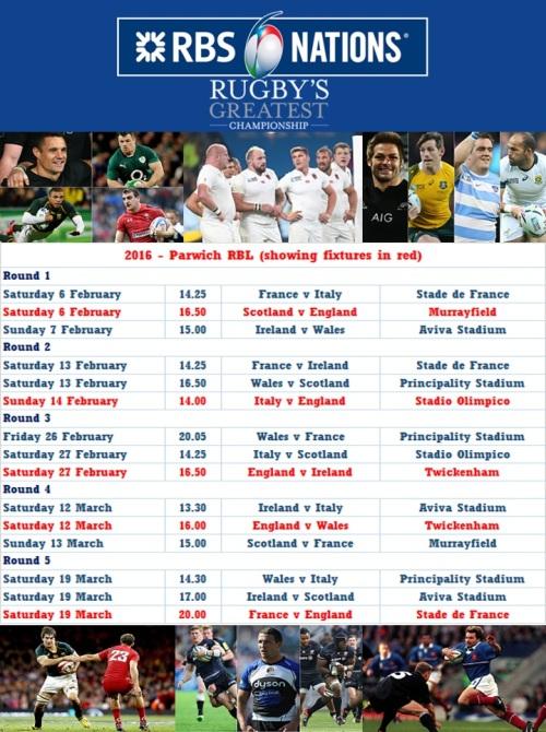 6 Nations 2016 fixtures