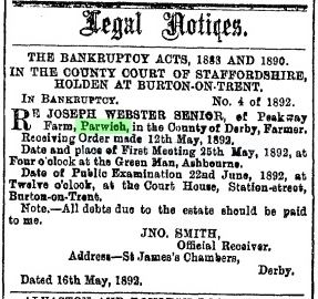 1892 May DM Jos WEbster bankrupt