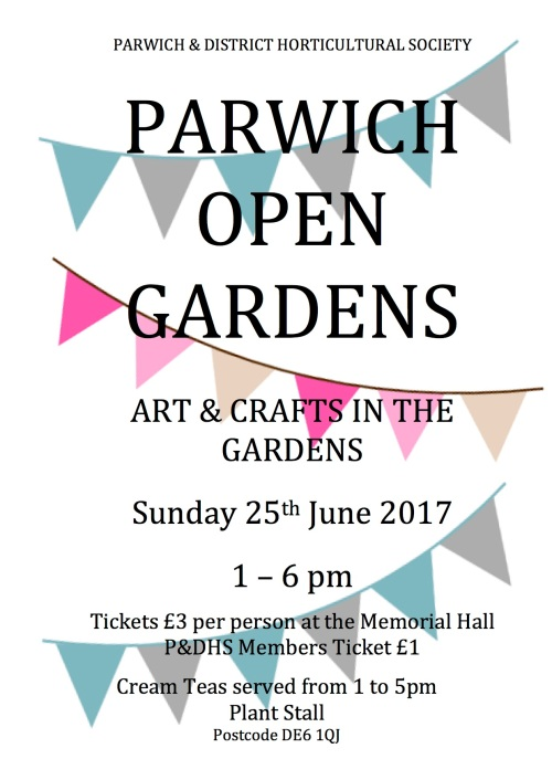 Open Gardens 2017 Flyer Poster £1 pdhs members
