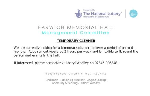 thumbnail_Temporary Cleaner Advert