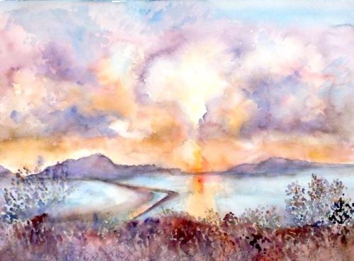 Evening Light, Gialova. Watercolour 46x61cms JPG
