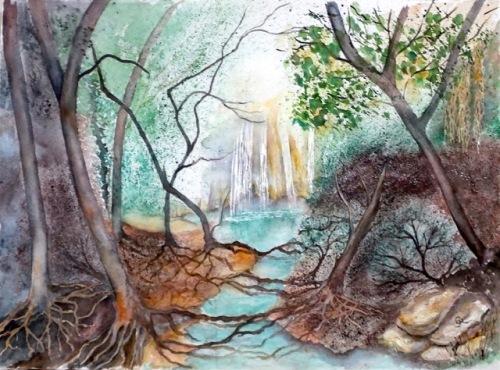 The Kalamari Falls, GIalova. Watercolour 56x76cms