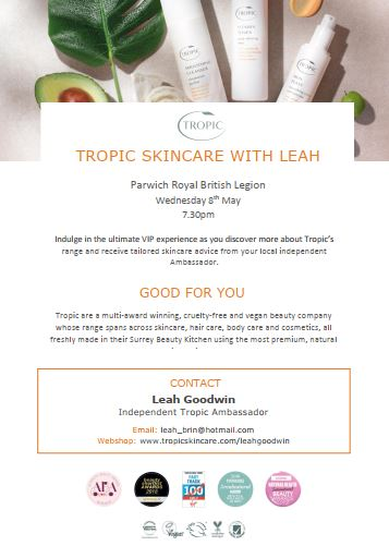 Tropic Skincare With Leah The Legion 8th May Parwich Org