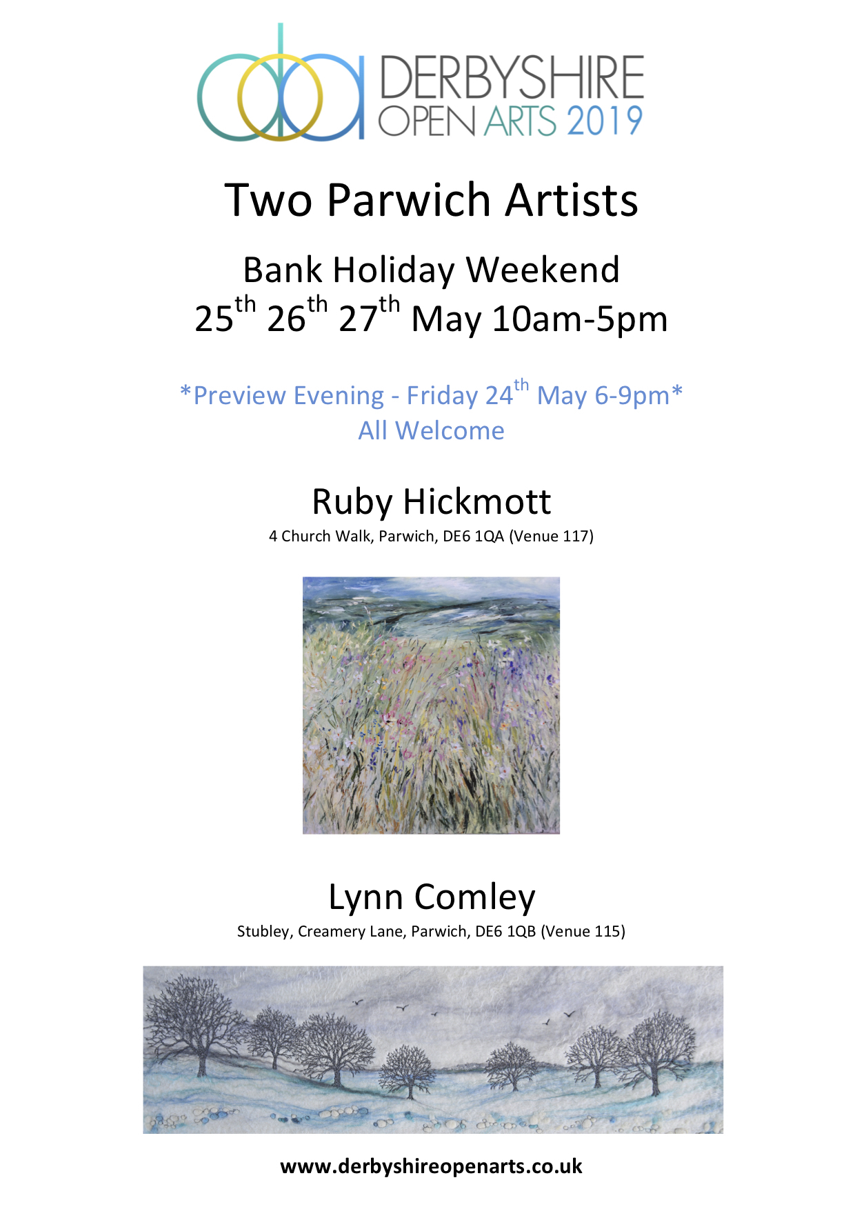 Two Parwich Artists Flyer for Blog 2019